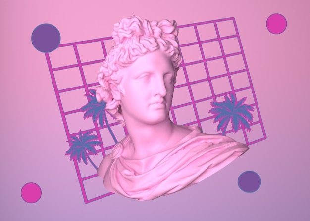 3d aesthetics with shapes in vaporwave style