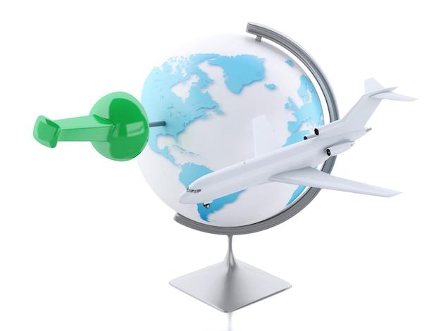 3d 비행기와 세계 지구입니다. 여행 컨셉