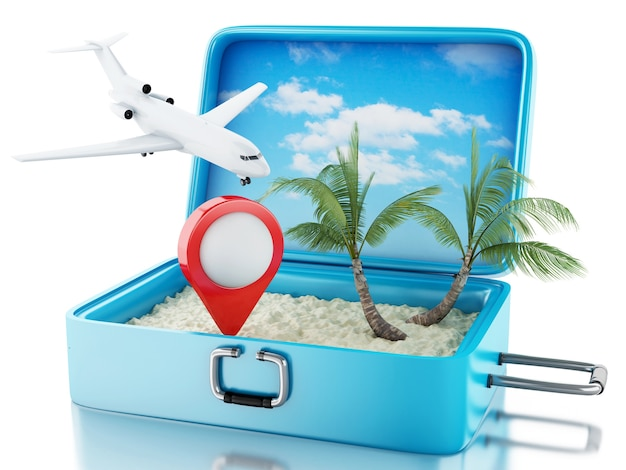3d airplane and map pointer in a travel suitcase.