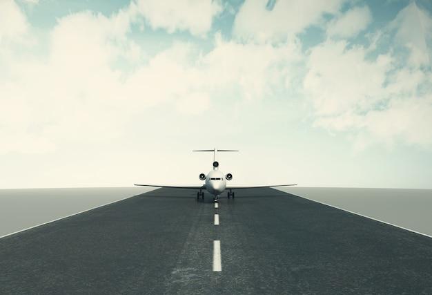 3d airplane taking off runway