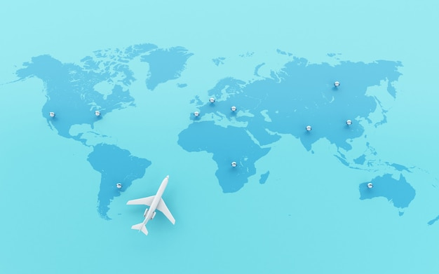3d airplanes flying around globe with map pointer.