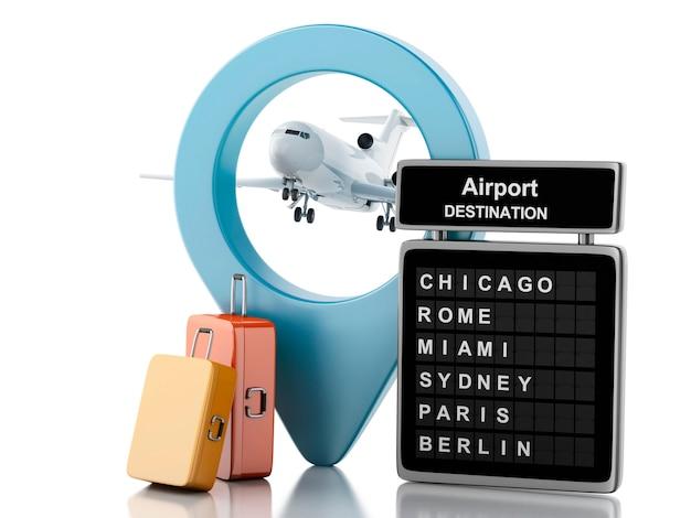 3d 공항 보드, 여행 가방 및 비행기. 여행 컨셉