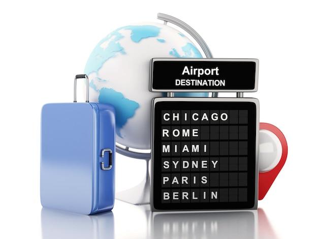 3d 공항 보드, 여행 가방 및 공항 포인터.
