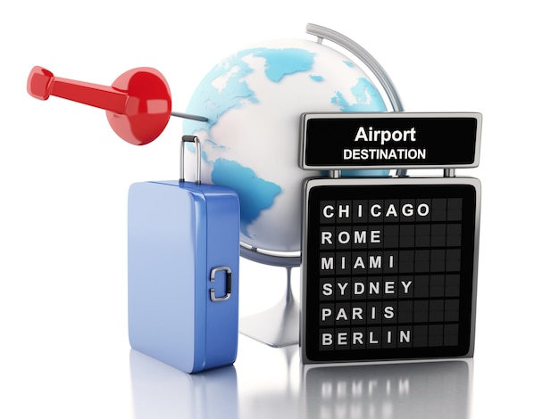 3d airport board, travel suitcases and world globe.