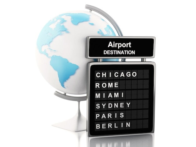 3d airport board and world globe.