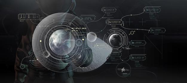 宇宙服を着た3d宇宙飛行士が仮想月で作業
