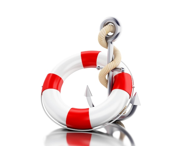 3d anchor and lifebuoy with rope