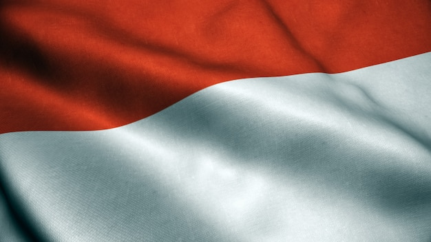 3d animation of indonesia flag.