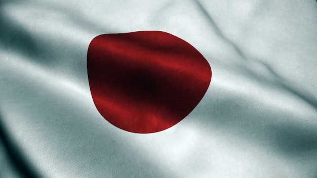 3d animation of japan flag. realistic japan flag  waving in wind.