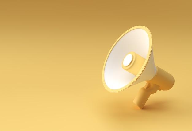 3d 발표 확성기 아이콘 3d 렌더링 디자인.