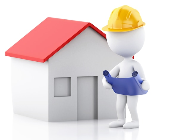 3d architect people with helmet, plans and house. construction concept.