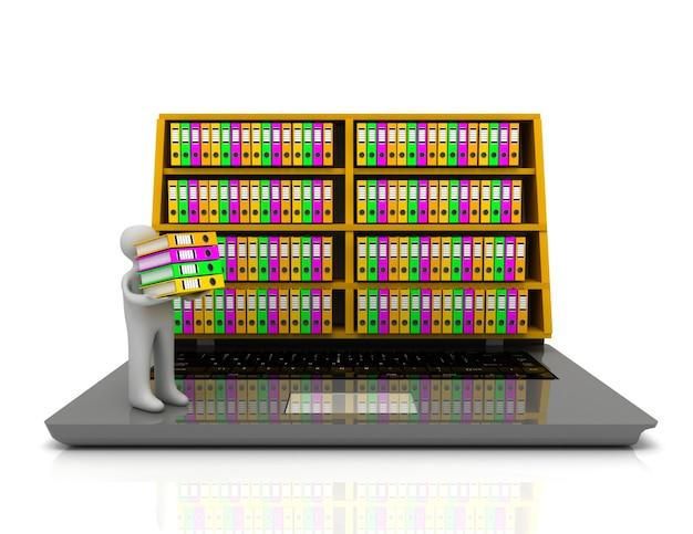 3d 아카이브 개념입니다. 노트북 및 격리 된 흰색 배경에 파일