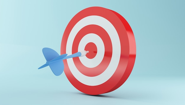 3d arrow hitting the center of red target.