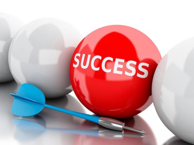 3d arrow in target- success.