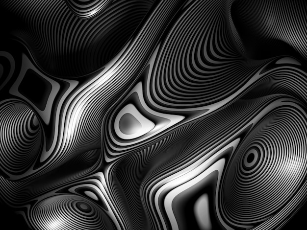 3d art abstract black and white background of spherical art piece