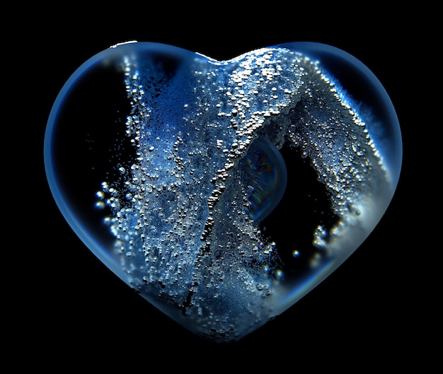 3d art of abstract glass heart with small balls particles inside