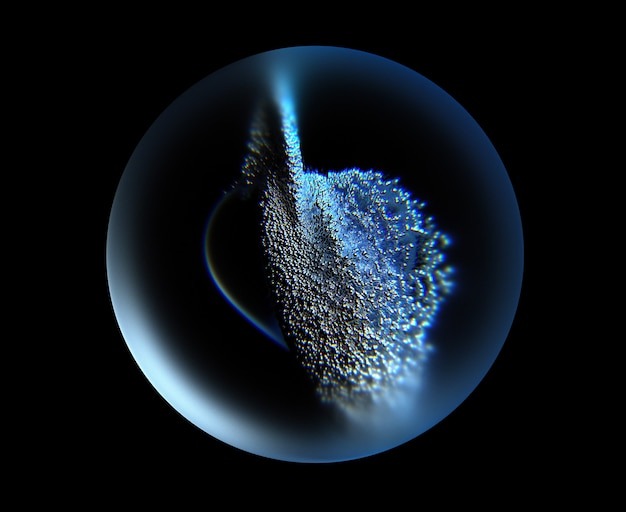 3d art with abstract glass 3d sphere with small balls particles inside