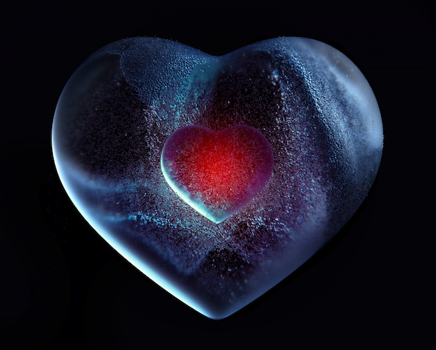 3d art with abstract glass ice heart with red core inside