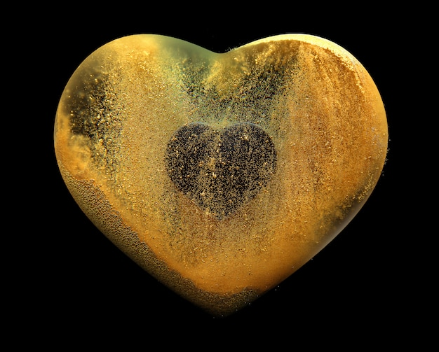 3d art with abstract heart with gold send particles around