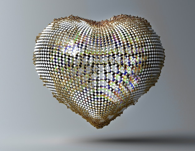 3d art with abstract metal gold and glass heart