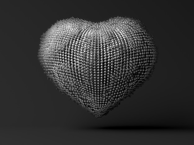 3d art with abstract metal heart on grey