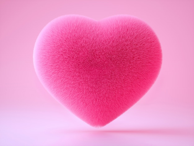 3d art with fluffy soft pillow in heart shape on light pink background
