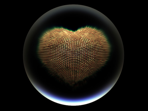 3d art with glass bball with gold metal surreal heart inside on black background