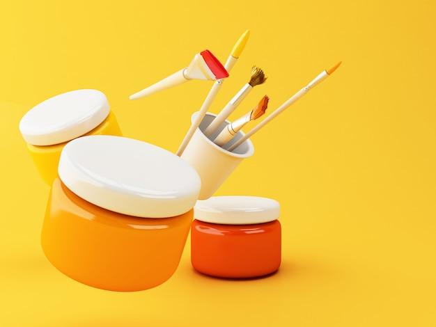 3d 아티스트 페인트 브러시 및 페인트 항아리.