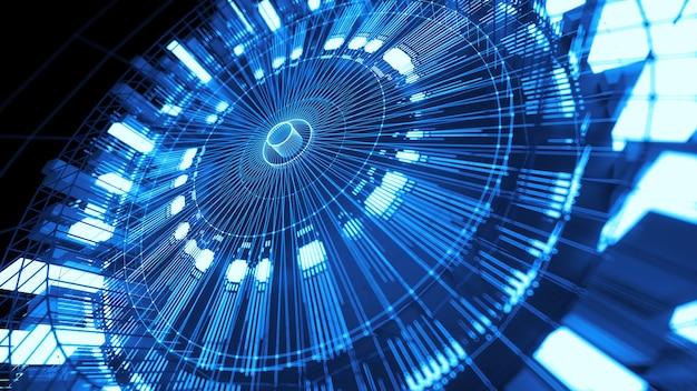 Предпосылка технологии asbtract 3d. круглая структура с яркими элементами и линиями. центрированная композиция.