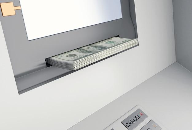 3d atm machine with money