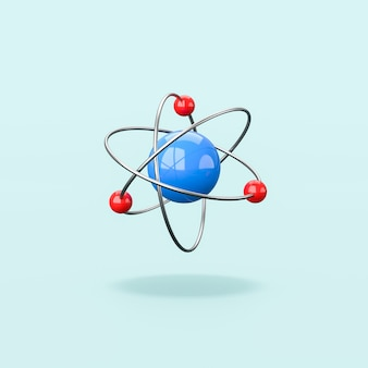 3d atom structure isolated on blue background