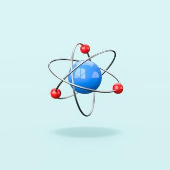 파란색 배경에 고립 된 3d 원자 구조