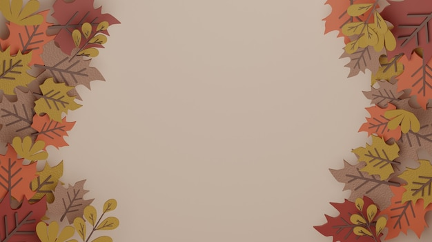 3d autumn maple leaf background with high quality image rendered