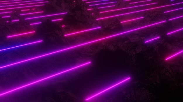 3d 배경 그림 네온 불빛 불타는 듯한 빛깔 추상적 인 벽지 미래의 복고풍