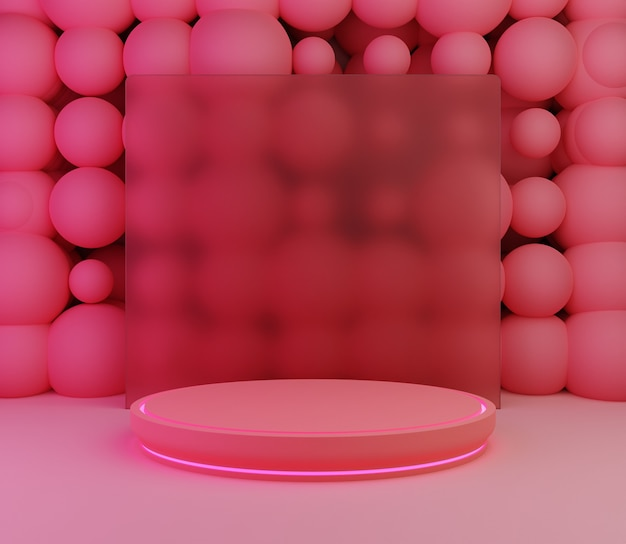 3d backgound illustration stage wallpaper product simple modern abstract balls pink