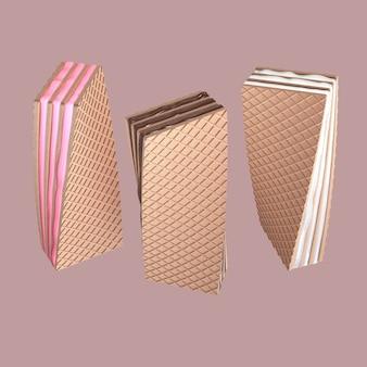 3d рендеринга набор хрустящей пластины с шоколадной клубникой или ванили и молоко на розовый backgroun