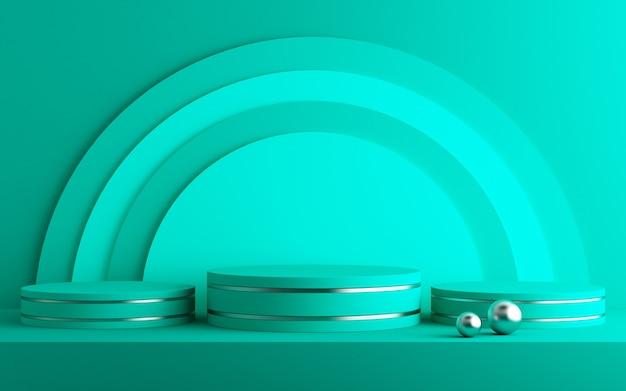3d background for mock up podium for product presentation, green background, 3d rendering