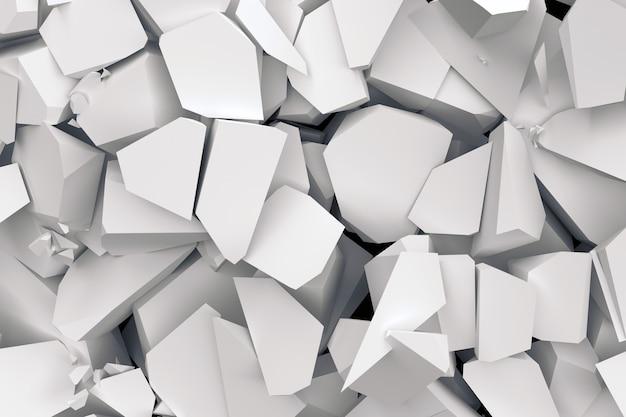 흰색 바닥 손상 및 금이의 3d 배경.