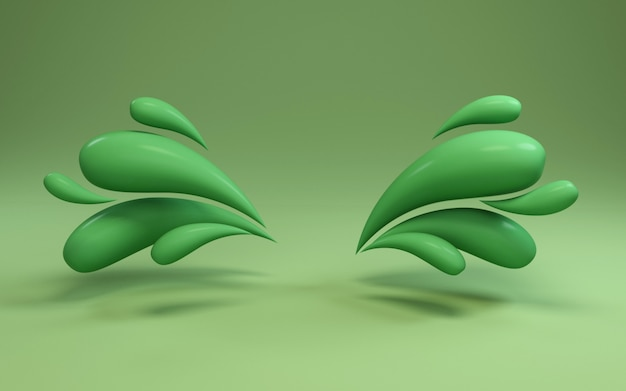 3d background rendering of colorful liquid green drops frame.