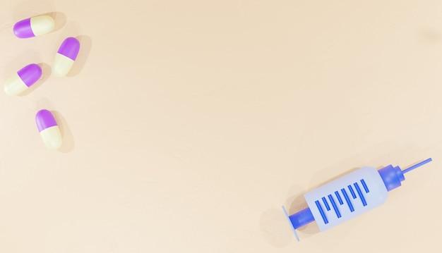웹 페이지 약국 위에서 본 3d 배경 렌더링 약 알약 및 주사