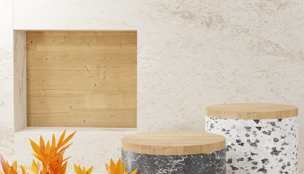 3d 배경 렌더링 현대 최소한의 흰색 테라조 및 나무 계단 연단