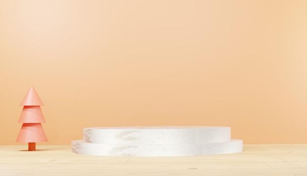 3d рендеринг фона серебряный мраморный подиум минимальные пустые основные шаги и деревья с копией пространства