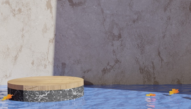 물 한가운데에 있는 3d 배경 렌더링 테라조 연단 전망과 가을 테마