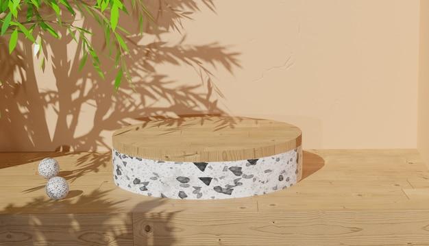3d 배경 렌더링 흰색 테라조 연단 디스플레이와 나뭇잎 그림자 프리미엄 사진