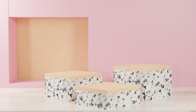 3d 배경 렌더링 분홍색 배경 프리미엄 사진이 있는 흰색 테라조 연단 디스플레이