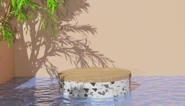 3d 배경 렌더링 물 리플 반사 프리미엄 사진이 있는 흰색 테라조 연단 디스플레이