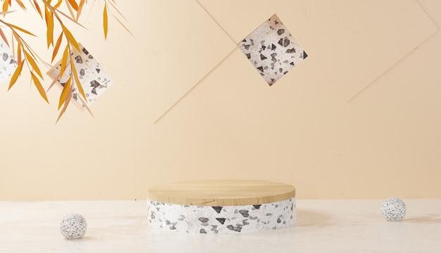3d 배경 렌더링 흰색 테라조 연단 보기 및 모래 배경에 나뭇잎