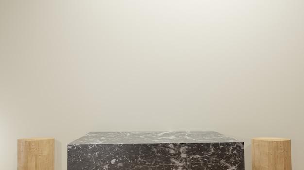 3d рендеринг фона из дерева и черного мрамора подиум минимальные пустые основные шаги с копией пространства
