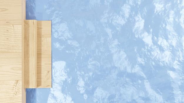 3d визуализация деревянного пола с лестницей у морской воды для веб-страниц, презентаций летних тем или продуктов и фонов