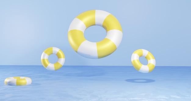 3d визуализация фона воздушные шары плавают посреди воды на пляже для презентации продуктов темы летних каникул для фона веб-страниц